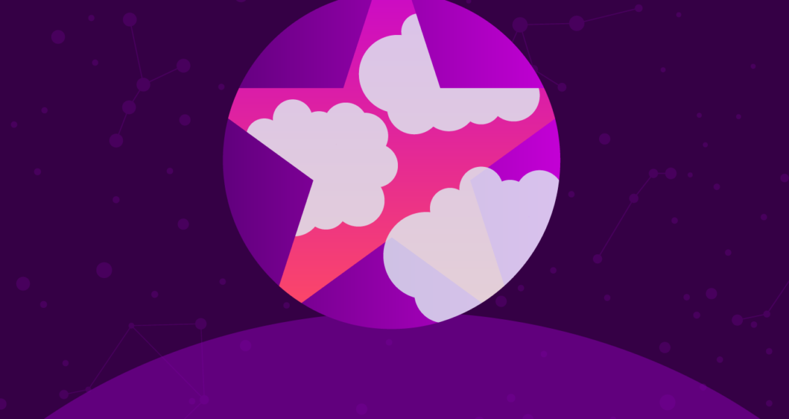 circle with a star and clouds in it