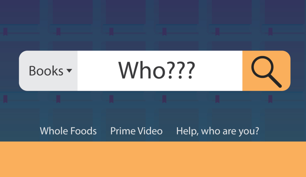 the word who with question marks written in the amazon search box