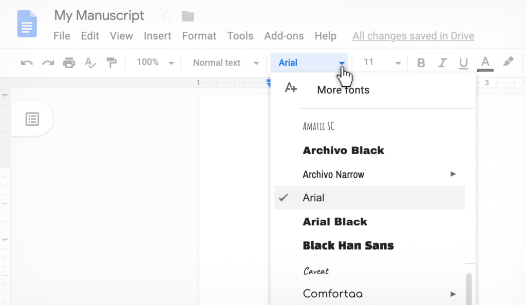 changing font in Google Docs