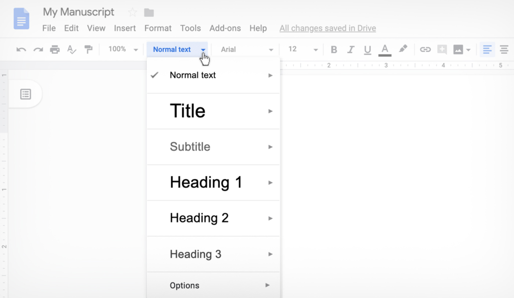 using the style function in Google Docs