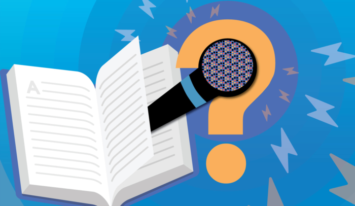 audiobook with microphone illustration