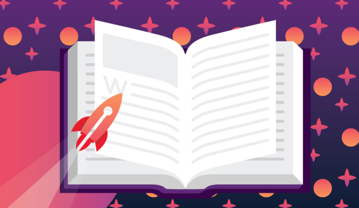 Book with rocket ship representing the future of publishing