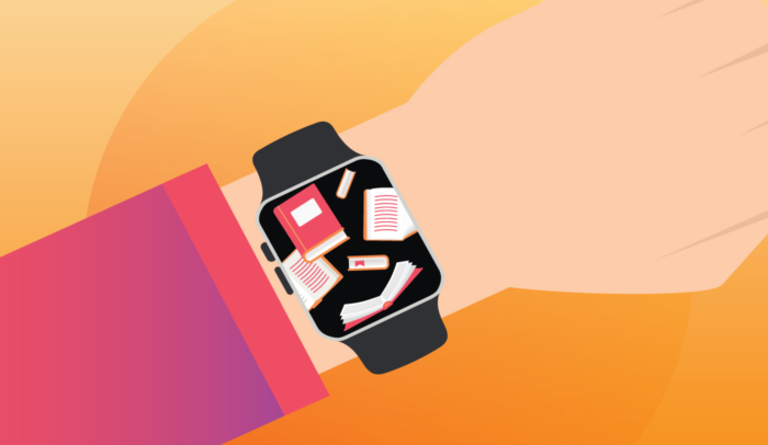 Apple watch with images of books