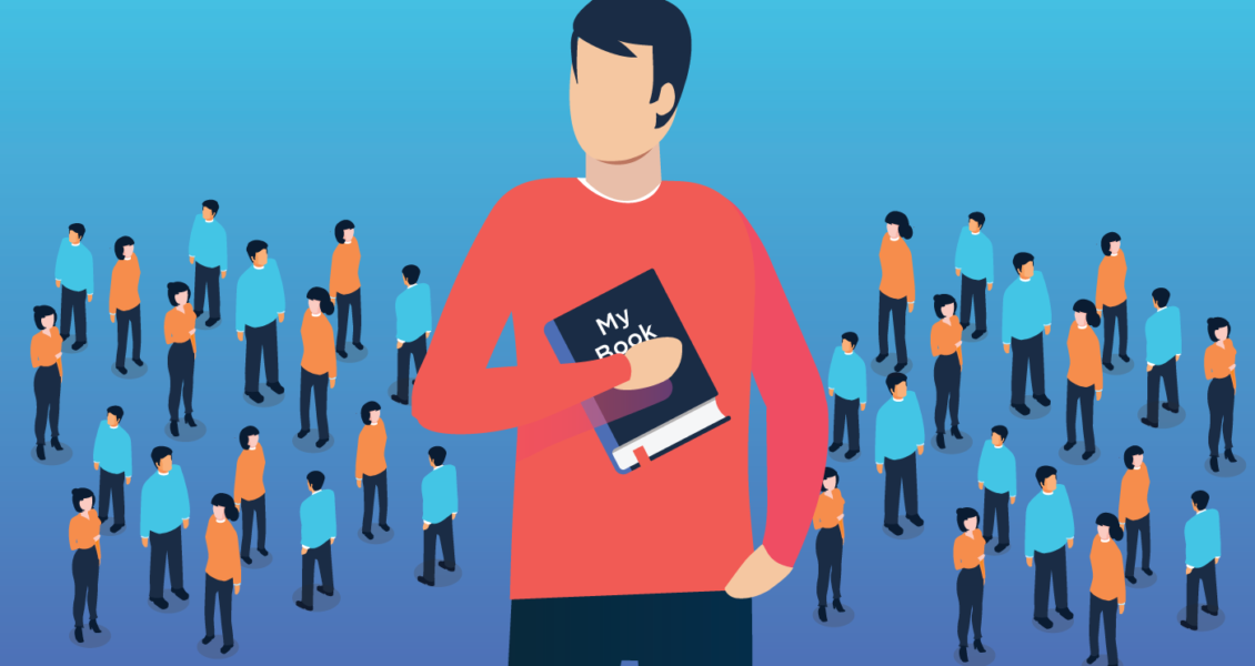 Person holding a book and standing out over a crowd of people