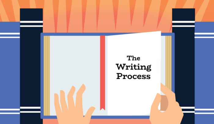 Person reading a book about the writing process