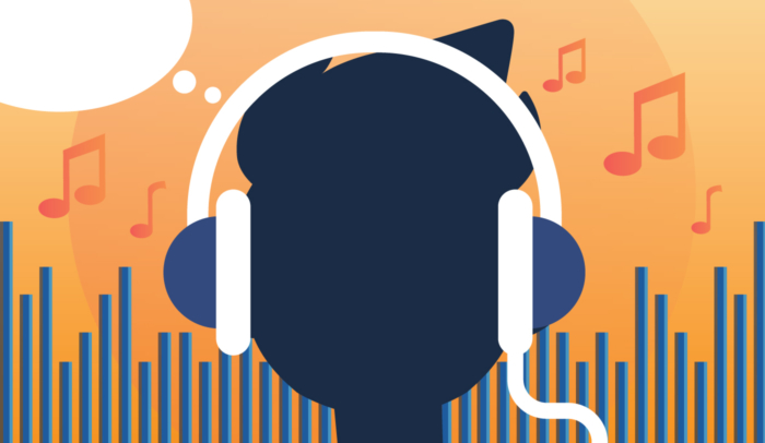 Person listening to music with headphones